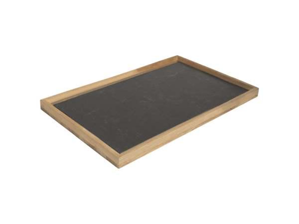 Stern Tablett 60x40 cm Teak/Dekton Lava Anthrazit