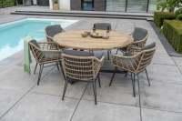 4Seasons Cottage Dining Set 7tlg. mit Basso Aluminium Tisch Ø160 cm