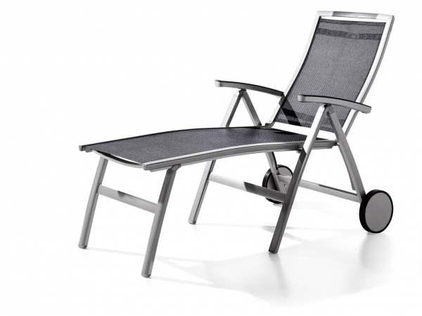 sieger trento komfort klappenrollliege aluminium textilene graphit grau. Black Bedroom Furniture Sets. Home Design Ideas