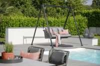 Stern Greta 2-Sitzer Schaukel Aluminium/Kordel inkl. Kissen und Schaukelgestell