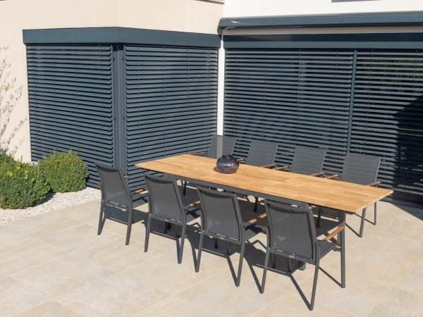 Zebra Fly Gartenmöbelset 9tlg. mit Edelstahltisch 230/310x100 cm