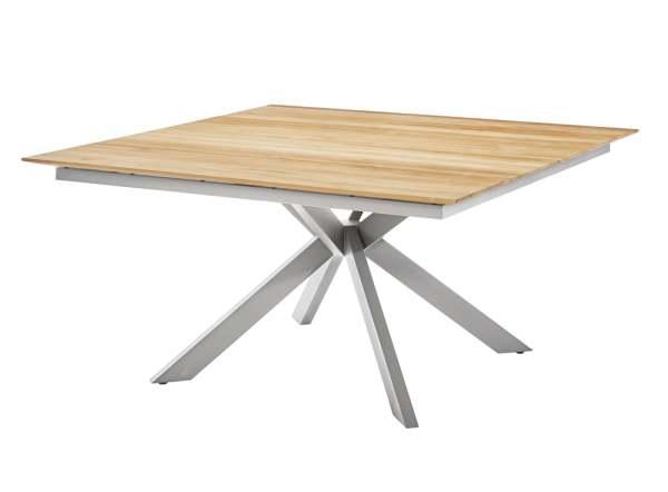 Diamond Garden Lyon Quattro Tisch 150x150 cm Edelstahl/Recycled Teak 4 Planken