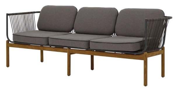 Zebra Pollux Lounge 3-Sitzer Sofa Aluminium/Teak