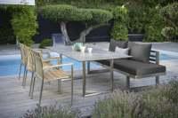 Stern New Holly Diningset 7tlg. mit Kufentisch Edelstahl 200x100 cm