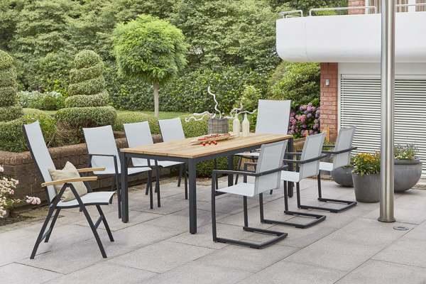 Diamond Garden Valencia Gartenmöbelset 9tlg. mit Gartentisch Ravenna 210x90 cm