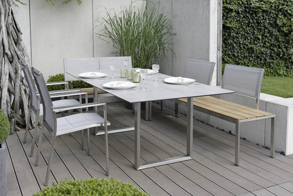 stern arima bank 2 sitzer edelstahl teakbelattung online kaufen beckhuis. Black Bedroom Furniture Sets. Home Design Ideas