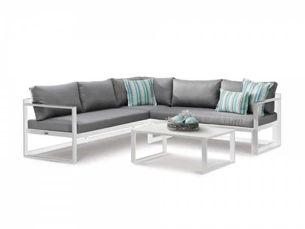 Best Rhodos Garten Lounge 3-tlg. Weiß/Grau